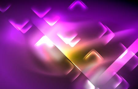 Neon shiny light lines on black, techno modern template, modern design Vector Illustratie
