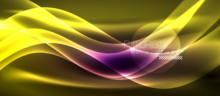 Neon light abstract waves Ilustracja