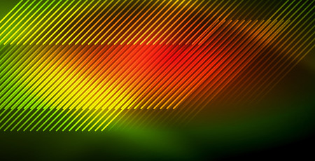 Neon glowing wave, magic energy and light motion background. Vector wallpaper template 일러스트