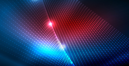 Color neon lights with waves abstract background. Vector illustration 写真素材 - 122717333