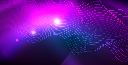 Color neon lights with waves abstract background. Vector illustration Çizim
