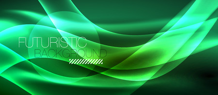 Neon light abstract waves vector