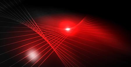 Ondas de neón brillantes brillantes brillantes, plantilla de concepto de espacio mágico Ilustración de vector