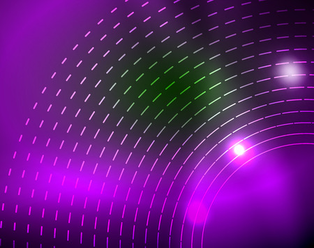 Neon circles abstract background, vector template 矢量图像