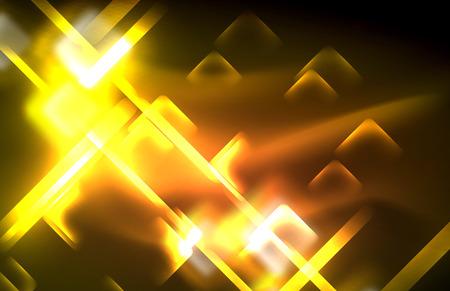 Neon glanzende lichtlijnen op zwart, techno moderne sjabloon, modern design