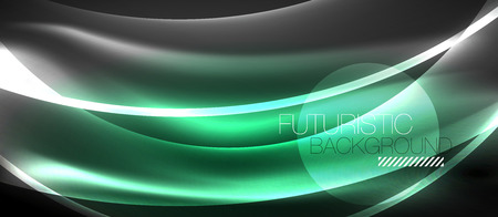 Neon shiny light glowing wave lines, vector futuristic techno template Banque d'images - 122717749