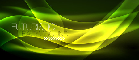 Plantilla de ondas abstractas de luz de neón Ilustración de vector