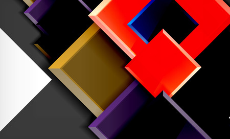 Bright colorful square shape blocks geometrical background, vector modern template Banque d'images - 122656321