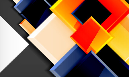 Colorful square and rectangle blocks background, vector geometric abstract design Banque d'images - 122656328