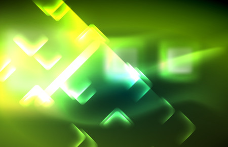 Neon square and line lights on dark background with blurred effects, vector modern design Illustration
