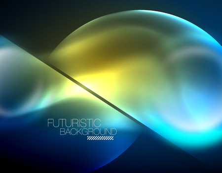 Blue neon bubbles and circles futuristic abstract background Vectores