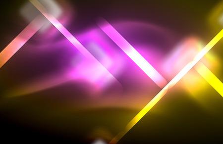 Neon shiny light lines on black, techno modern template, modern design