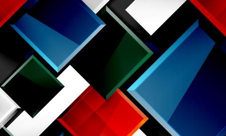 Color squares futuristic abstract background, vector futuristic blocks colorful design Illustration