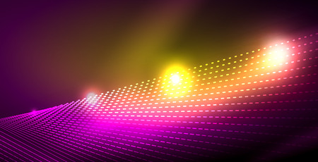 Shiny neon space background, vector template Ilustração