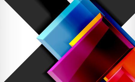 Bright colorful square shape blocks geometrical background, vector modern template Ilustração