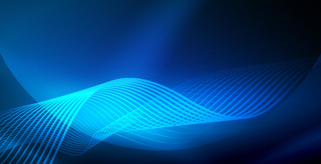 Neon wave abstract background, shiny light