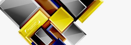 Square geometric composition, vector blocks background Stock Illustratie