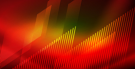 Neon glowing wave, magic energy and light motion background. Vector wallpaper template Ilustração