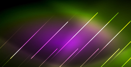 Neon glowing wave, magic energy and light motion background. Vector wallpaper template Vektorové ilustrace