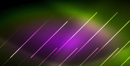 Onda luminosa al neon, energia magica e movimento leggero. Modello di carta da parati vettoriale Vettoriali