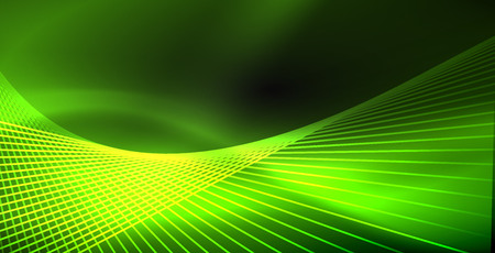 Neon color abstract lines on black