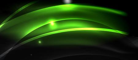 Neon light abstract waves design Illustration