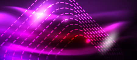 Neon glowing techno lines, hi-tech futuristic abstract background template with square shapes, vector design