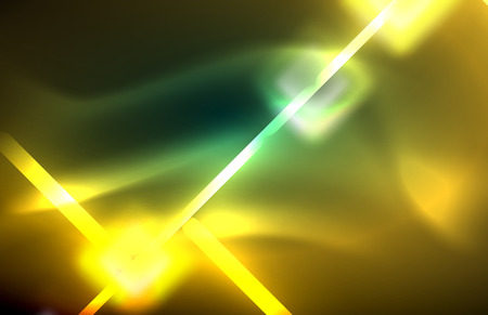 Neon square and line lights on dark background with blurred effects, vector modern design Illusztráció