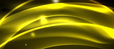 Neon shiny light glowing wave lines, vector futuristic techno template Stock Vector - 122515526