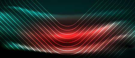 Dark background with neon glowing elements, shiny motion concept, vector