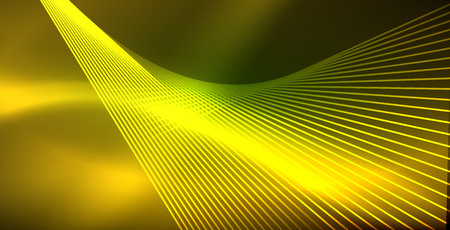 Neon glowing wave, magic energy and light motion background. Vector wallpaper template Illusztráció