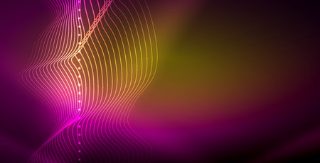 Neon lines shiny glowing background, vector futuristic techno template Ilustração