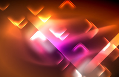 Neon square and line lights on dark background with blurred effects, vector modern design Ilustração
