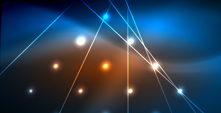 Neon glowing techno lines, blue hi-tech futuristic abstract background template