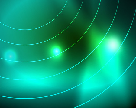 Neon circles abstract background, vector template