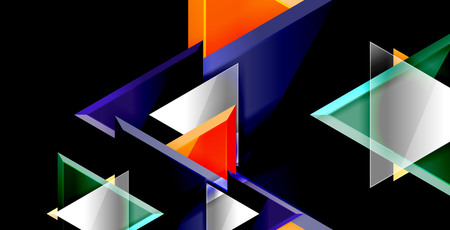 Glossy shiny triangles background, vector template