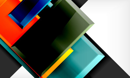 Colorful square and rectangle blocks background, vector geometric abstract design