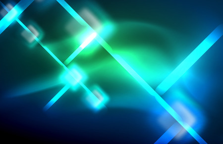 Neon glowing techno lines, hi-tech futuristic abstract background template with square shapes and lines