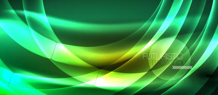 Neon shiny light glowing wave lines, vector futuristic techno template