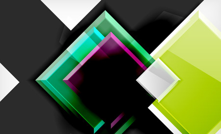 Bright colorful square shape blocks geometrical background Ilustração