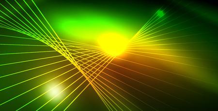 Shiny neon space background, vector template Ilustração