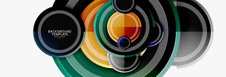 Abstract round geometric shapes, modern circles background Ilustrace