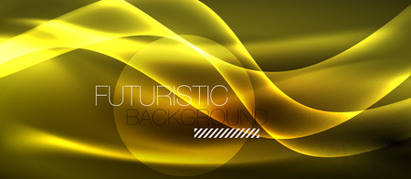 Neon shiny light glowing wave lines, vector futuristic techno template