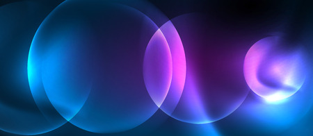 Blue neon bubbles and circles abstract background, futuristic magic techno design