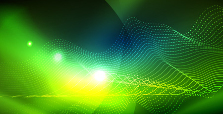 Color neon lights with waves abstract background. Vector illustration  イラスト・ベクター素材