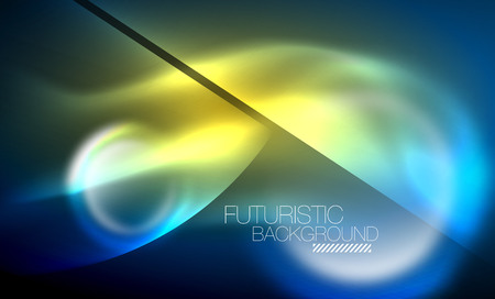 Blue neon bubbles and circles futuristic abstract background Illustration