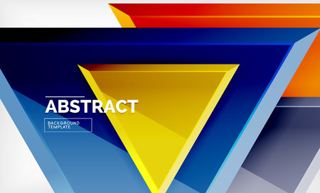 Tech futuristic geometric 3d shapes, minimal abstract background. Vector illustration