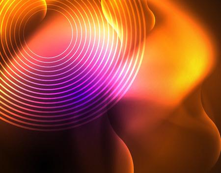 Shiny metallic neon waves vector design Çizim