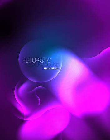 Neon glowing wave lines, blue hi-tech futuristic abstract background template