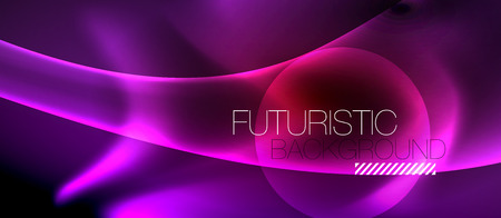 Neon color wave lines abstract background, magic techno futuristic light